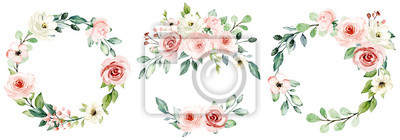 Fototapete Wreaths, floral frames, watercolor flowers pink roses, Illustration hand painted. Isolated on white background. Perfectly for greeting card design.