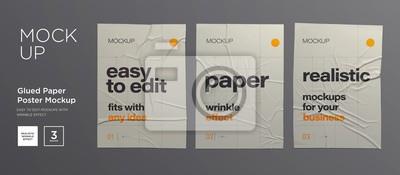 Fototapete Wrinkled poster template set. Glued paper. Vector Realistic wet wrinkled posters mockup