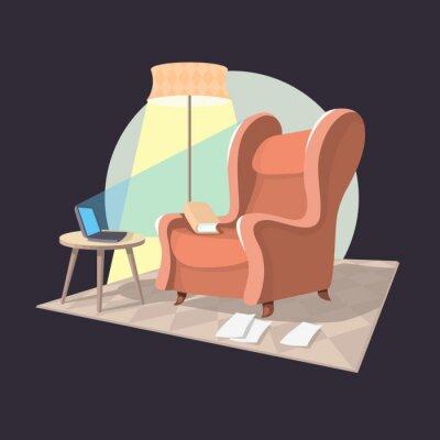 Writer Home Arbeitsplatz. Sessel, Couchtisch, Notizbuch, Lampe,