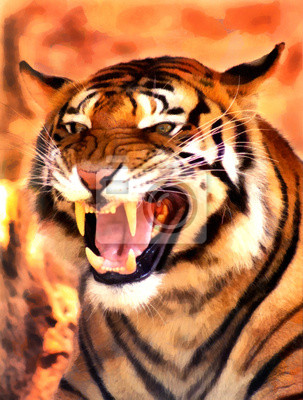 Wütend Tiger Gesicht Portrait Malerei