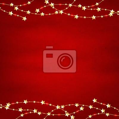 Xmas Red Retro Hintergrund mit goldenen Sternen Garland