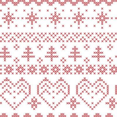 Fototapete Xmas seamless pattern inspired by nordic cross patterns