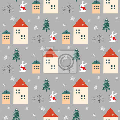 Fototapete Xmas tree, snowflakes, rabbit and houses seamless pattern on grey background. Happy New Year and Merry Xmas background. Vector winter design for textile, wrapping paper, fabric, card.