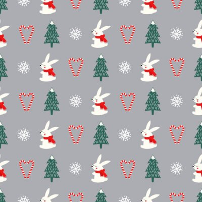 Fototapete Xmas tree, snowflakes, rabbit, candy canes heart seamless pattern on grey background. Happy New Year and Merry Xmas background. Vector design for textile, wrapping paper, fabric, card.