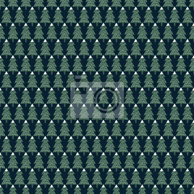 Fototapete Xmas trees simple seamless pattern. Happy New Year background. Vector design for winter holidays on dark blue background. Child drawing style trees.