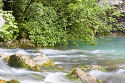Fototapete Река находится в горах Абхазии и впадает в голубое озеро.