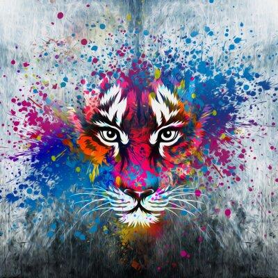 Fototapete кляксы на стене.фантазия с тигром