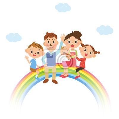 虹 に 乗っ て いる 家族