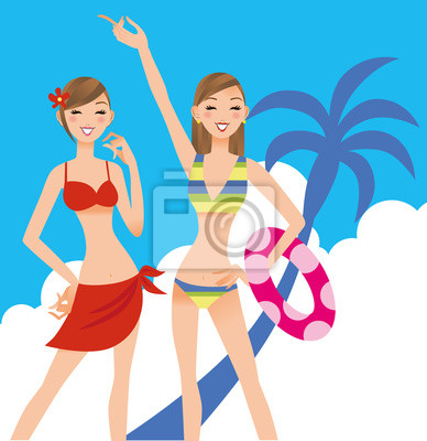 水着 を 着 た 女性