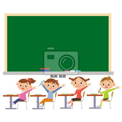 学校, 黒 板, 子 供