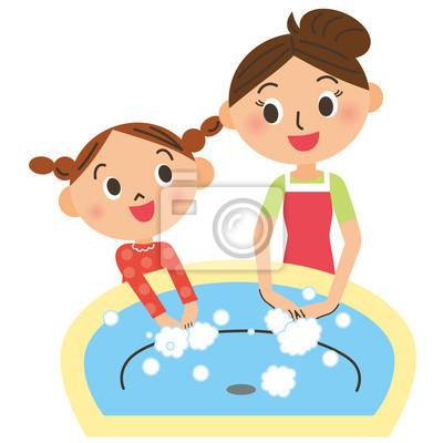手 を 洗う 親子
