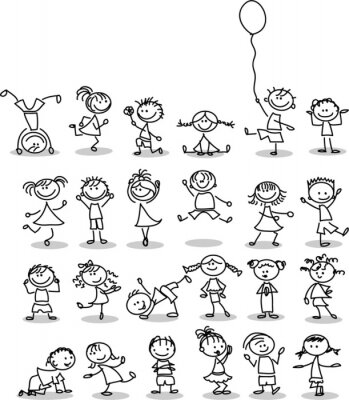 Fototapete Симпатичные счастливых детей мультфильм