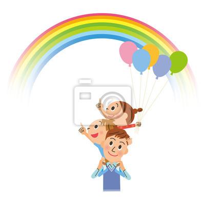 虹 と 親子
