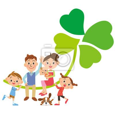 四葉のクローバー と 家族