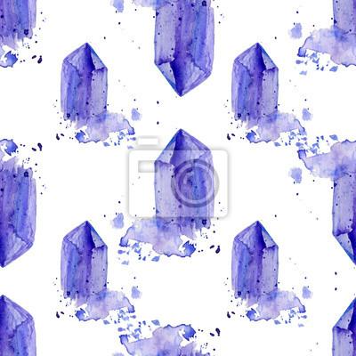 Fototapete Aquarell Lila Kristall Amethyst Cluster Hand Gezeichnet Malerei  Illustration Isoliert Auf Weißem Hintergrund, Nahtlose