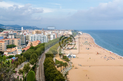 Bewolkt Blick Auf Strand Von Calella In Der Nahe Von Barcelona