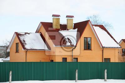 Bitumen Asphalt Schindeln Dach Zwei Schornsteine Auf Dem Dach