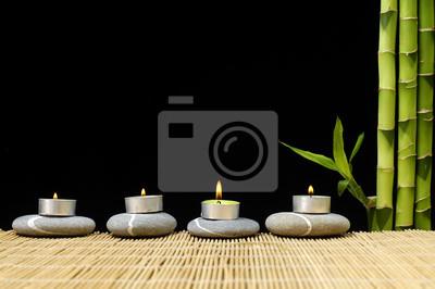 Brennende Kerze Auf Steine Mit Bambushain Fototapete Fototapeten