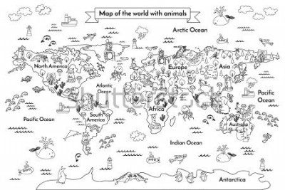 Fototapete Coloring book map of the world. Ð¡artoon globe with animals. Black and white hand drawn vector illustration. Oceans and continent: South America, Eurasia, North America, Africa, Australia
