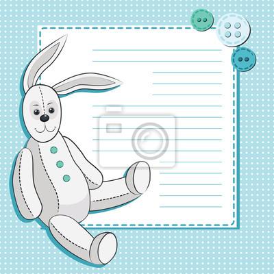 Einladungskarte mit сute Karikaturkaninchen