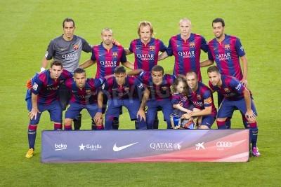 Fototapete FCB-Spieler posieren für Fotos am Gamper Freundschaftsspiel zwischen dem FC Barcelona und Club-Leon FC, Endstand 6-0, am 18. August 2014 in Camp Nou, Barcelona, Spanien