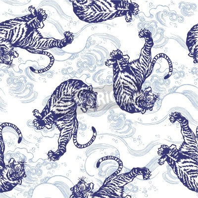 Fototapete Japanese tigera €€ nahtlos