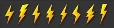 Fototapete Yellow lightning bolt icons collection. Flash symbol, thunderbolt. Simple lightning strike sign. Vector illustration.