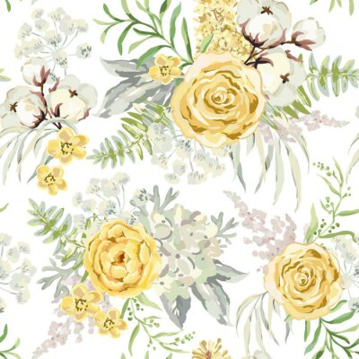 Yellow Spring Bouquets On The White Background Watercolor Vector