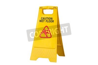 Yellow vorsicht rutschig nass boden zeichen isoliert auf weißem