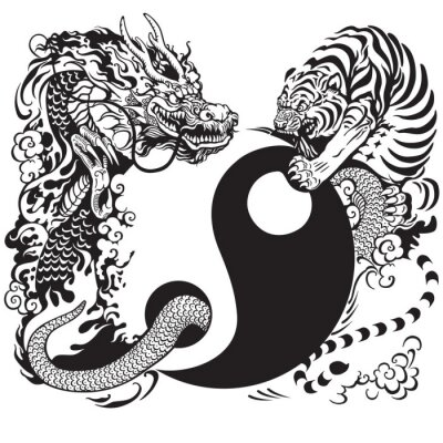 Fototapete yin yang with dragon and tiger