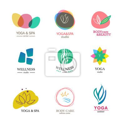 Yoga und gesundheitswesen insignien vorlagen gesetzt fototapete ...