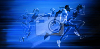 Fototapete Young african-american and caucasian men and women running isolated on blue studio background. Silhouette of jogging athletes with shadows in neon light. Movement or motion. Creative collage.