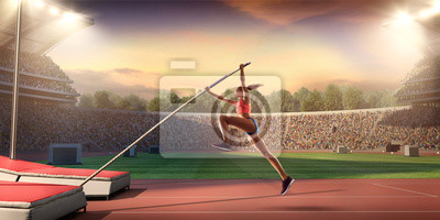 Fototapete Young female pole vault athlete with pole bar. Women in sport clothes at athletic sport track in professional stadium