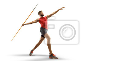 Fototapete Young male javelin thrower throwing a spear on white background. Isolated athlete in sport clothes