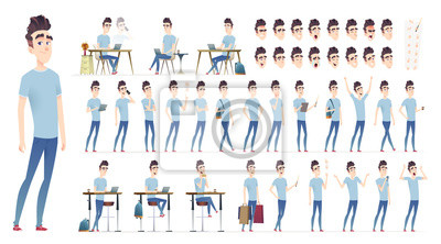 Fototapete Young man character collection. Set of different poses and situation. Modern flat cartoon style.