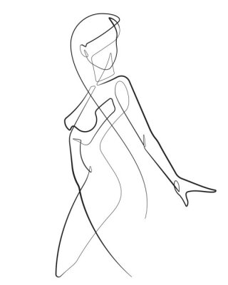 Fototapete Young Woman One Continuous Line Abstract Vector Icon Graphic Drawing