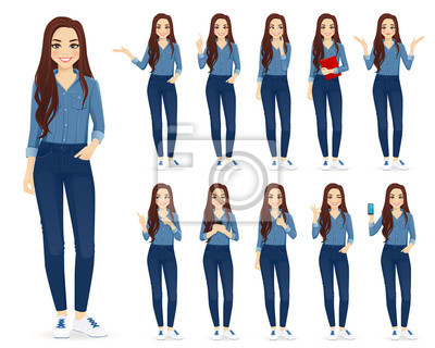 Fototapete Young woman with long hair in casual denim shirt and jeans set different gestures isolated vector iilustration