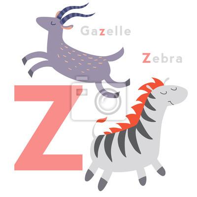 Z Buchstabe Tiere gesetzt. Englisches Alphabet. Vektor-Illustration, isoliert auf weißem Hintergrund