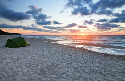 Fototapete Zachód słońca na plaży morze Bałtyckie