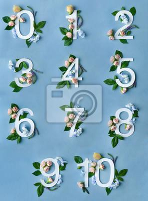Zahlen mit Blumendekoration auf blauem Hintergrund