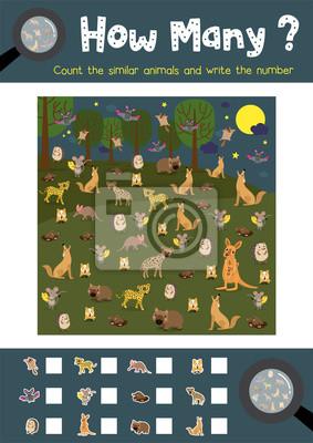 Zählen spiel von nächtlichen tieren für vorschule kinder aktivität ...