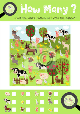 Zählen spiel von nutztieren für vorschule kinder aktivität ...