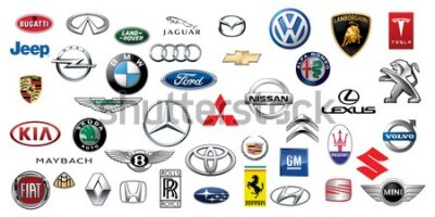 Fototapete ZAPOROZHYE, UKRAINE - DECEMBER 20, 2017: Logos collection of different brands of cars, printed on paper