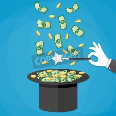 Zaubertrick Konzept Dollar Geld Und Goldenen Münzen Kommen Aus