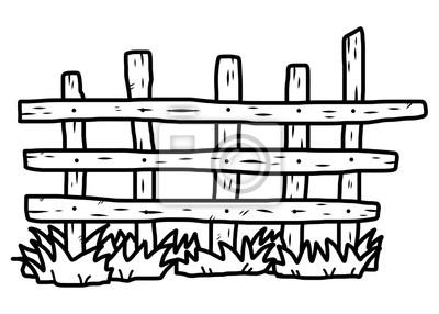 Zaun Cartoon Vektor Und Illustration Schwarz Und Weiss Hand