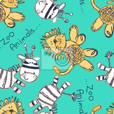 Zebra und löwe nahtlose muster mit stickerei fototapete ...