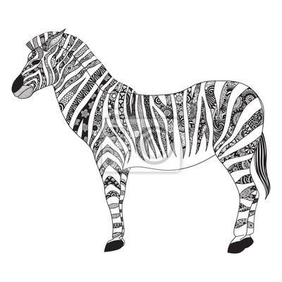 Zebra zentangle stilisiert für t-shirt design, zeichen, poster ...