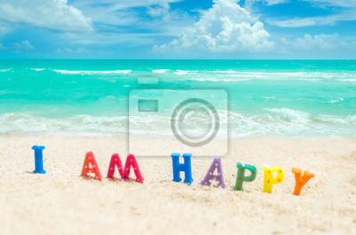 Zeichen Ich Bin Glücklich Auf Dem Tropischen Strand Von Miami