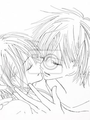 Zeichnen Im Stil Von Anime Bild Verliebt Madchen Und Der Typ