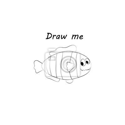Zeichnen sie mich - vektor-illustration von meerestieren. die ...